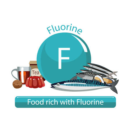 Food rich with fluorine. Composition from natural products and the sign of fluorine. White background. Healthy lifestyle