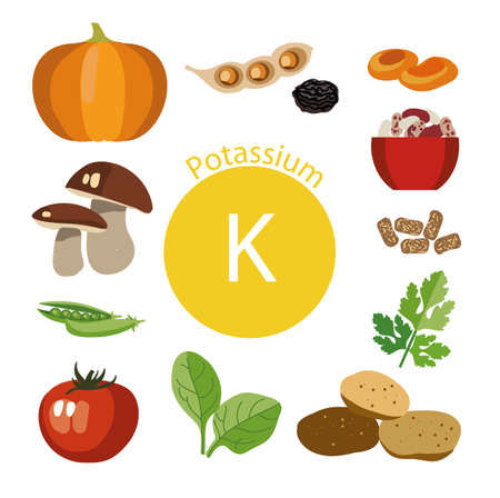 Producten rijk aan kalium. Basis van gezond voedsel. natuurlijke biologische producten en het teken van kalium op een gekleurde achtergrond. Gezonde levensstijl Stockfoto - 87677896