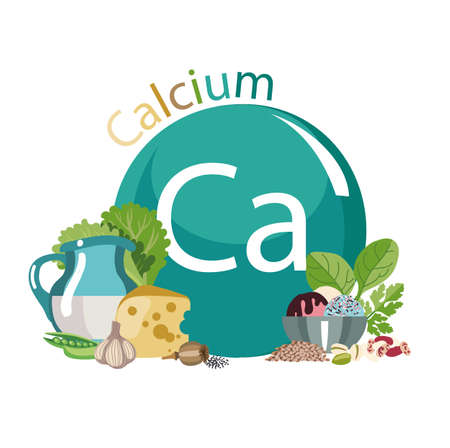 Food rich with calcium. Healthy Food series. Composition with products and the sign of calcium