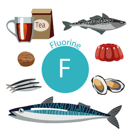 Food rich with fluorine. Natural organic products and sign of fluorine. Bases Healthy lifestyle