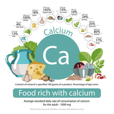 Food rich with calcium Stock Illustratie
