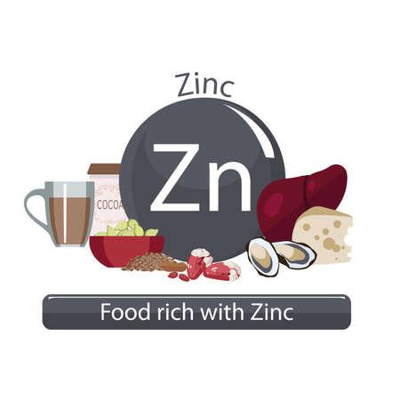 Products rich with zinc Illusztráció