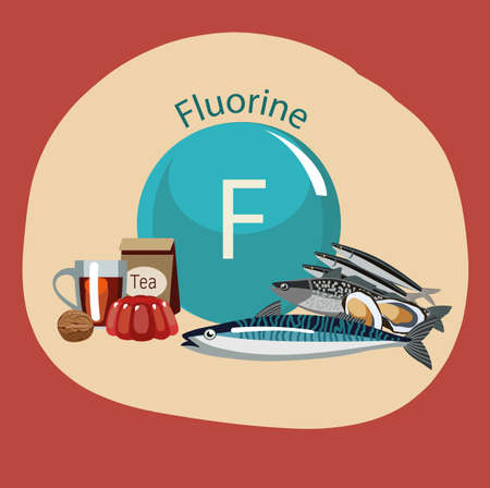 Aliment riche en fluor Banque d'images - 87679815