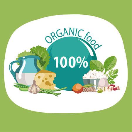 Organic natural food. Healthy lifestyle concept. Иллюстрация