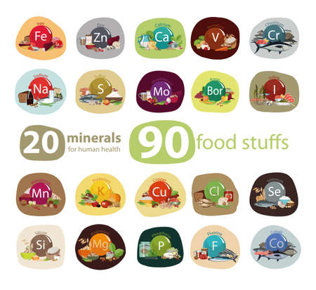 Food rich in minerals health concept.