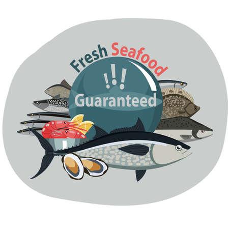 Guaranteed fresh seafoods illustration.