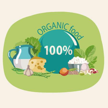 Organic natural food. Healthy lifestyle concept Иллюстрация