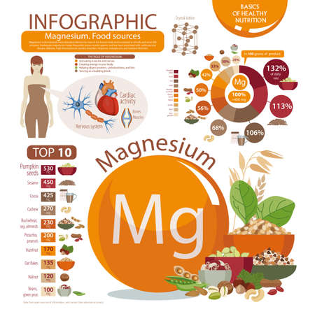 Infographics about Magnesium food sources. Illustration