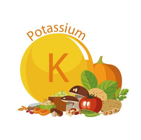 Kalium in der Lebensmittelillustration.
