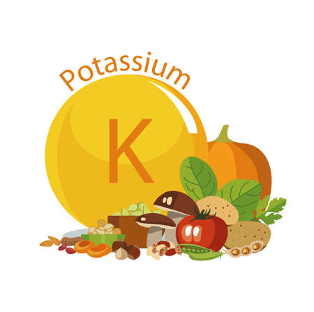 Potassium in food illustration.