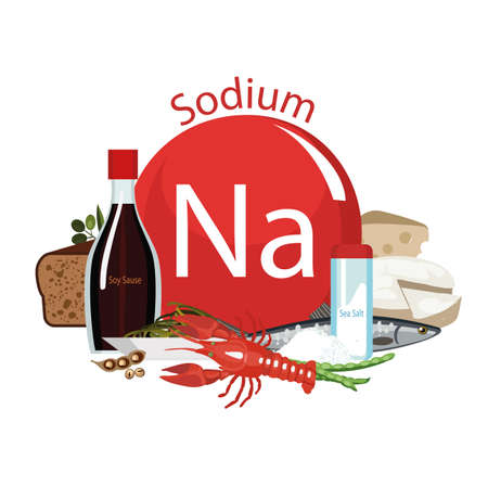produits alimentaires: Sodium. Food sources. Food products with the maximum sodium content. Composition from the sign of sodium and natural organic products. Basics of a healthy diet.