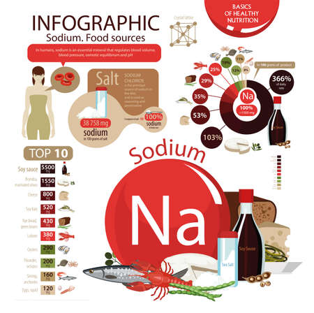 Infographics Sodium. Food sources. Foods with the maximum sodium content. Pie chart, top 10 natural organic products. Fundamentals of healthy eating. Illustration
