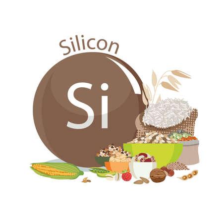 Silizium. Nahrungsquellen. Lebensmittelprodukte mit einem maximalen Gehalt an Silizium. Die Zusammensetzung des Zeichens von Natrium und natürlichen organischen Produkten. Grundlagen einer gesunden Ernährung. Vektorgrafik