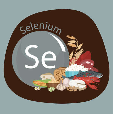 Selenium. Food sources. Composition from natural organic products with a high content of selenium and a sign of selenium. Basics of a healthy diet.