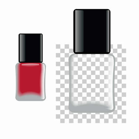 Nail polish. Red and empty bottle. Template for any color of nail polish.