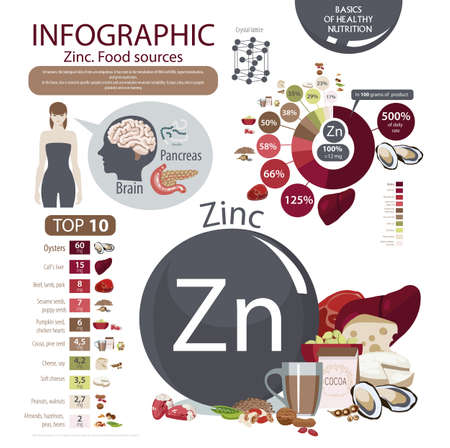 Zinc. Food sources. natural organic products with a high content of Zinc. Pie chart, top 10. The fundamentals of a healthy diet. Illustration