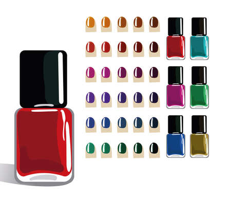 Different colors of bottles of nail polish. Illustration