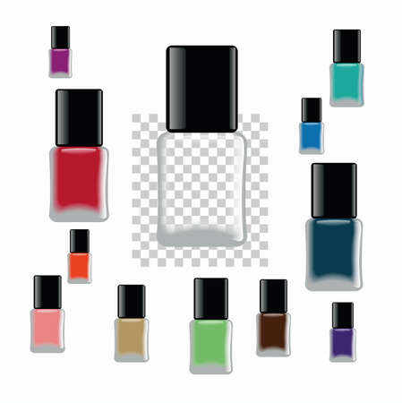 Nail polish. Different colors of bottles and empty bottles. Template for any color of nail polish.