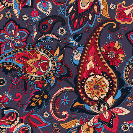 Seamless pattern based on traditional Asian elements Paisley.