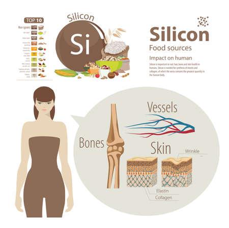 Infographie silicium. Sources alimentaires et influence sur la santé humaine. Banque d'images - 89601753