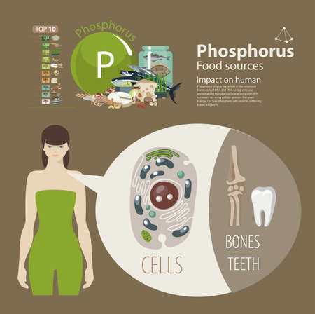 Phosphorus food sources for bones and teeth with woman