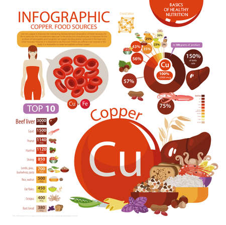 Infographics copper. Food sources. Foods with the maximum copper content. Pie chart, top 10 natural organic products. Fundamentals of healthy eating.