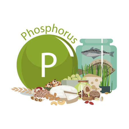 Phosphorus. Food sources. Food products with the maximum Phosphorus content. Composition from the sign of sodium and natural organic products. Basics of a healthy diet. Illustration