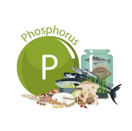 Phosphore. Sources de nourriture. Produits alimentaires à teneur maximale en phosphore. Composition à partir du signe du sodium et de produits organiques naturels. Les bases d'une alimentation saine.