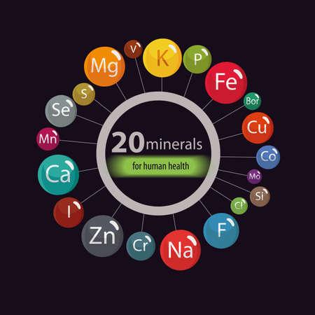 20 minerali: microelementi ed elementi macro, utili per la salute umana. Fondamenti di un'alimentazione sana e di stili di vita sani. Archivio Fotografico - 90818785
