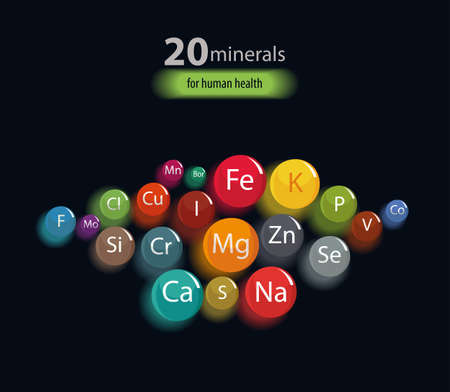 20 minerals: microelements and macro elements, useful for human health. Fundamentals of healthy eating and healthy lifestyles. Illusztráció