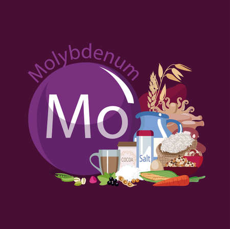 Molybdenum. Food sources. Natural organic products with a high content of molybdenum. Healthy Eating Banque d'images - 90818831