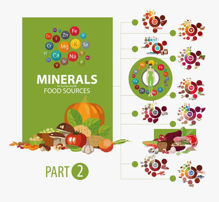 Products with the highest content of micro and macro elements needed for human health. The Basics of Healthy Eating. Infographics Minerals. Food sources. Part 2.