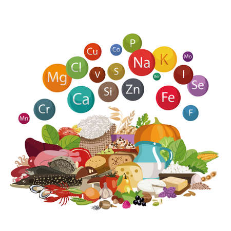 Composition of organic food illustration. Stock fotó - 91314048