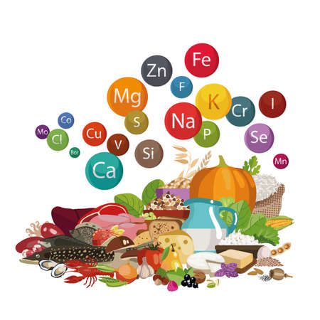 Composition of organic food illustration. Vectores