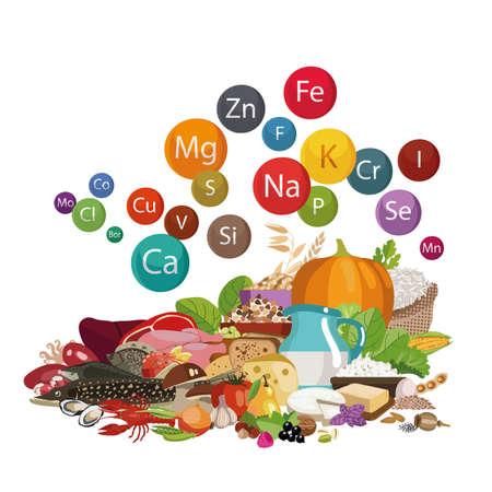 Composition of organic food illustration. Vettoriali
