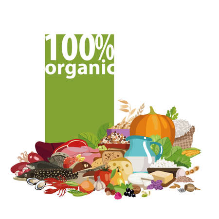 Composition from natural organic products 100% organic. Vegetables, grains, nuts, beans, meat products and seafood, dairy products are the basis of healthy nutrition.