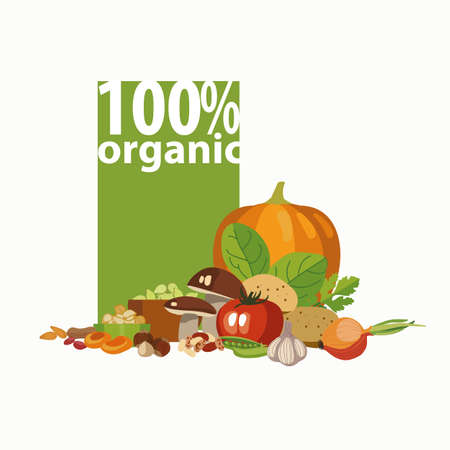 Sets of different 100 percent organic vegetables.  The basis of a healthy diet. Illustration