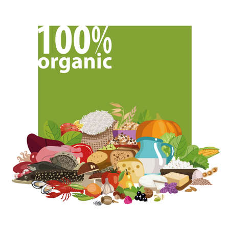 Set of natural 100% organic products. Vegetables, grains, nuts, beans, meat and seafood. The basis of healthy nutrition.