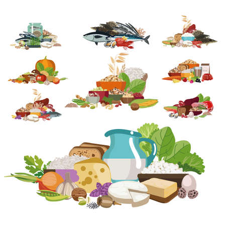 Sets of different 100 percent organic product.  The basis of a healthy diet. Ilustração