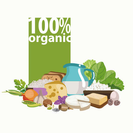 Sets of different 100 percent organic product.  The basis of a healthy diet. Imagens - 91316721