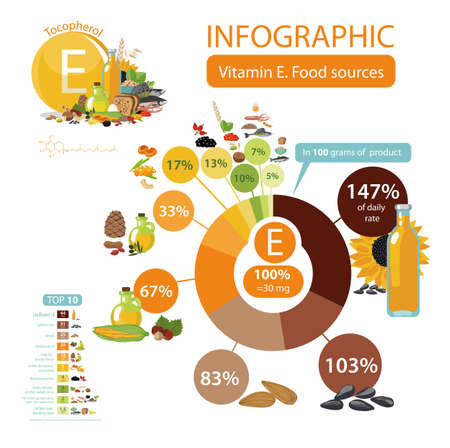 Infographics Vitamin E or Tocopherol. Food sources.  Top 10 natural organic vegetables, fruits, berries, cereals and fish with the maximum content of vitamin E.
