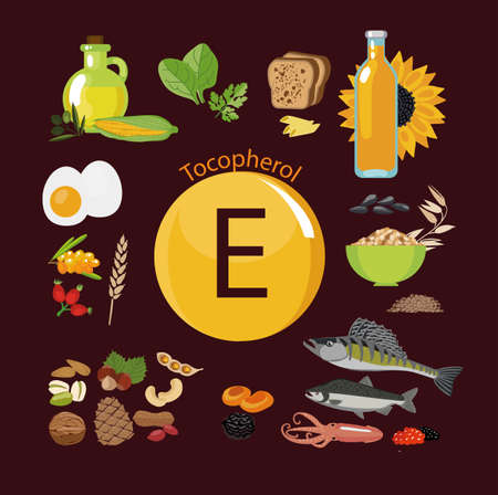 Vitamin E or Tocopherol. Food sources.  Natural organic products with a maximum content of vitamin E. Fundamentals of healthy nutrition