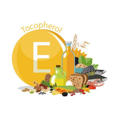 """""""Vitamine E ou Tocopherol."""" Sources de nourriture. """"Composition brillante de produits organiques naturels à teneur maximale en vitamine E. Principes de base d?une alimentation saine."""