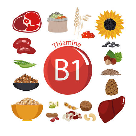 Vitamin B1 (thiamine). Food sources. Natural organic products with the maximum vitamin content. Stok Fotoğraf - 92774049