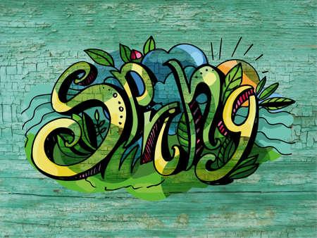 낙서 스타일에서 글자 봄 손 쓰기입니다. 오래 된 페인트 나무의 질감입니다.