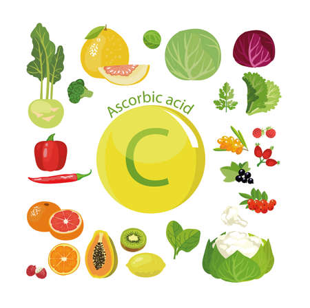 ビタミンCまたはアスコルビン酸。ビタミンCの含有量を最大にする天然有機野菜、果物、果実。健康的な食事の基礎  イラスト・ベクター素材