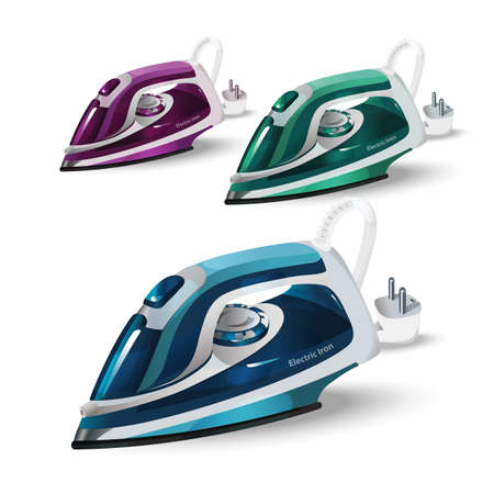 Electric iron. A modern household appliance. Abstract model. Blue, green, purple Illustration