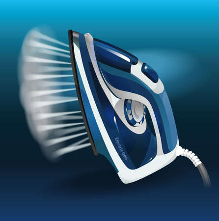 Abstract model of a modern electric iron with steam function. Tilting position. Blue 向量圖像