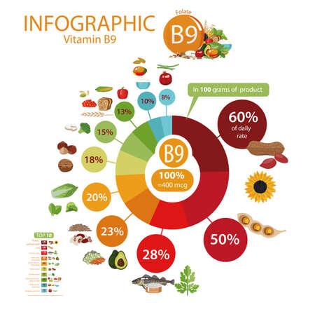 Vitamine B9 (folaat). Voedselbronnen. Natuurlijke biologische producten met het maximale vitaminegehalte. Stock Illustratie