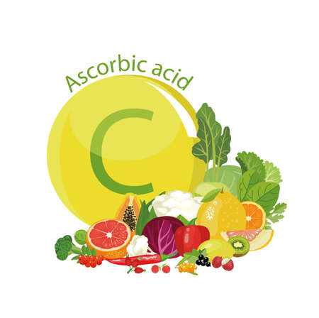 Vitamin C or Ascorbic acid. Natural organic vegetables, fruits and berries with the maximum content of vitamin C. Illustration